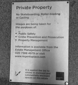 Private property, Regent's Place (London)